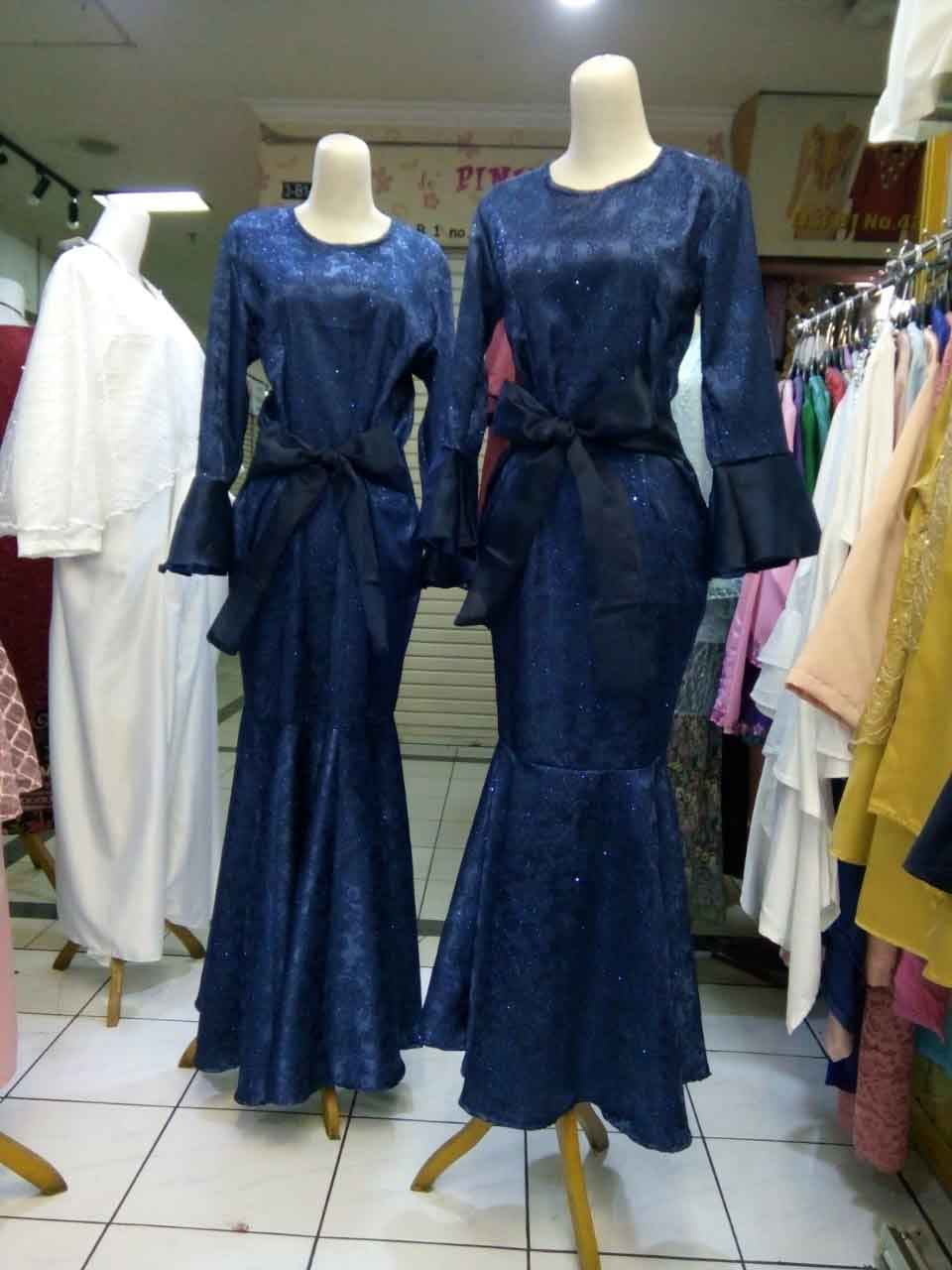 Dress Gamis Duyung Pita Pinggang Kombinasi Organza Pasar Baru Online